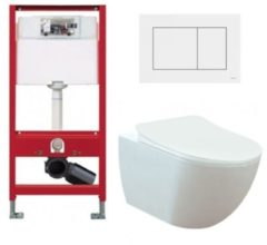 Douche Concurrent Tece Toiletset - Inbouw WC Hangtoilet wandcloset - Creavit Mat Wit Rimfree Tece Now Wit