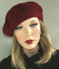Bordeauxrode AOP Wollen dames baret alpino pet kleur bordeaux rood maat one size