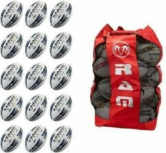 RAM Rugtby Gripper rugbybal bundel - Wedstrijd/training - Met draagtas - Maat 4 - Groen - 15 stuks