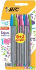Bruna Balpen Bic Cristal assorti medium Fun pouch a 6+2 gratis