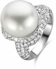 Witgouden ring met parel en diamant ZZ1-09296-W