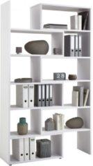 FD Furniture Uitschuifbare Open Boekenkast Calvia 84 tot 160 cm breed - wit