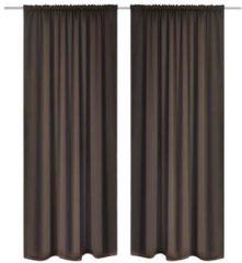 VidaXL Gordijnen met gleuven 135 x 145 cm 2 stuks (bruin)