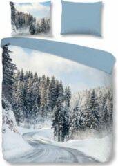 Blauwe Warme Flanel Tweepersoons Dekbedovertrek Snow | 200x200/220 | Hoogwaardig En Zacht | Ideaal Tegen De Kou