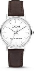 CO88 Collection Watches 8CW 10004 Horloge - Leren Band - Ø 36 mm - Donker Bruin