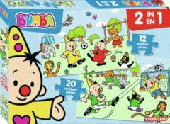 Lichtblauwe Bumba - 2 in 1 puzzel - voetbal - 12 en 20 stukken