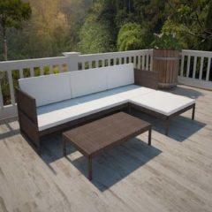 Bruine VidaXL Poly Rattan Lounge set voor buiten met een 3-zits bank (bruin)