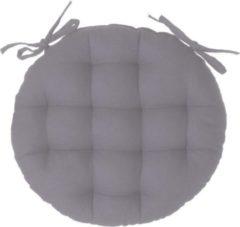 Atmosphera DELUXE stoelkussen rond grijs - ronde stoelkussens - D38 cm - Met 2 lintjes