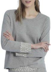 Sweatshirt, Jaquard Calida casual grey melé