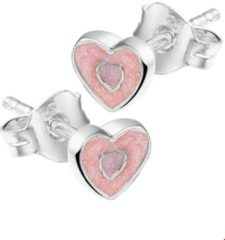 Roze The Kids Jewelry Collection Oorknoppen Hart - Zilver