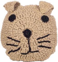 Beige Kids Depot KidsDepot - Animal Kussen Kat - Decoratie Kinderkamer - Katoen