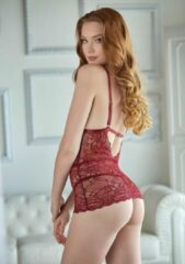 Bordeauxrode Allure (All) Lace Chemise with G-string - Burgundy - L/XL - Lingerie For Her - Dress