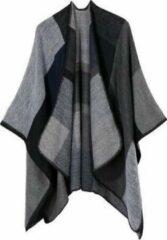 MINIIYOU Dames Winter vest   Grijs geblokt   Dames Poncho   Sjaal   Stola   Deken   Omslagdoek   Dames mode accessoires