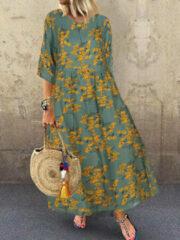 Newchic Vintage Floral Empire Waist Plus Size A-line Dress