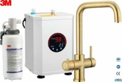 Gouden Multi-Tap 3-in-1 kokend water kraan 3-in-1 Multi-Tap kokend water kraan incl. boiler & 3M waterfilter, L-uitloop-Gold