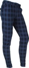 Marineblauwe Ferlucci - Heren Pantalon - Stretch - Paulo - Geblokt - Blauw