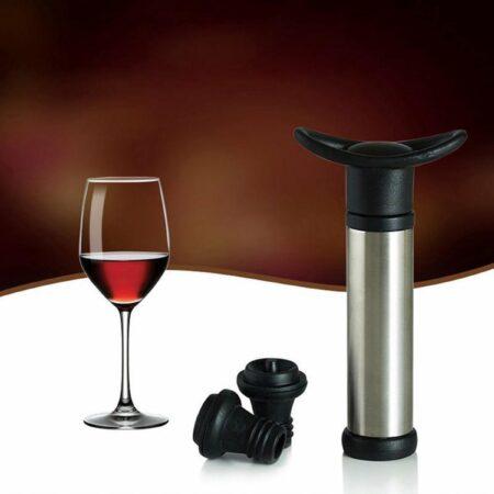 Afbeelding van Grijze Merkloos / Sans marque Vacuüm Wijnafsluiter - Vacuüm Wijn Pomp Flesafsluiter - Wijnstopper Wijnafsluiter - Flesstopper - Wijn Decanter - Set van 2 - met Pomp - Zwart