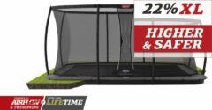 Grijze BERG trampoline Ultim Champion Flatground 410 + Safety Net DLX XL