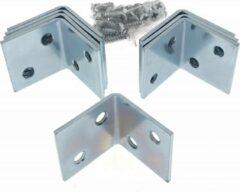 Ben Tools 48x stuks hoekankers / stoelhoeken inclusief schroeven - 30 x 30 x 30 mm - metaal - hoekverbinders