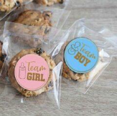 Blauwe Merkloos / Sans marque Geboorte sticker zegel jongen - meisje geboren - sluitzegel - geboortekaart - envelop - 24 stuks - team boy girl - babyshower