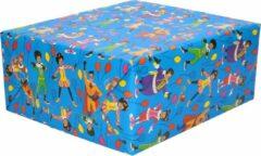 4x Rollen inpakpapier/cadeaupapier Club van Sinterklaas blauw 200 x 70 cm - Cadeaupapier/inpakpapier voor 5 december pakjesavond