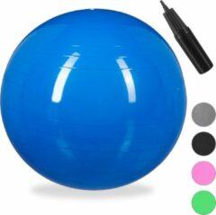 Relaxdays 1x fitnessbal 75 cm - pompje - gymbal - zitbal - yogabal - pilatesbal - blauw