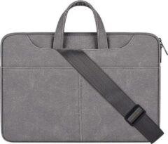 Adella Laptophoes 13.3 inch - Donkergrijs Met afneembare schouderband 13.3 inch - Laptop Sleeve - Echt leer