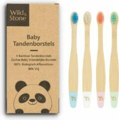 Rode Wild & Stone – Bamboe Baby Tandenborstel – 4 Stuks - Soft – Zachte Haartjes - Kind – Peuter