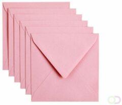 Papicolor Envelop vierkant 14 centimeter babyroze 105gr-CV 6 stuks - 140x140 mm
