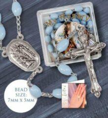 Van Santen Fashion Charm Jewelry Rozenkrans blauw met opbergdoosje Medaille met Lourdeswater.(6325)