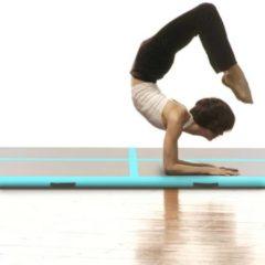 VidaXL Gymnastiekmat met pomp opblaasbaar 500x100x10 cm PVC groen