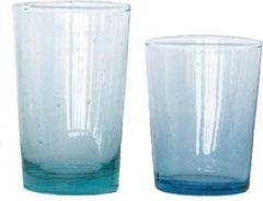 Turquoise Household Hardware Waterglas - M - recycled glas - mondgeblazen - set van zes