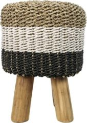 Naturelkleurige HSM Collection Kruk Malibu - ø33 cm - raffia/zeefgras - naturel/wit/zwart