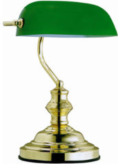 Globo Lighting Tafellamp Globo Antique - Metaal/Messing - Groene glaskap