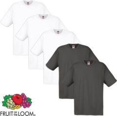 Antraciet-grijze Fruit of the Loom T-shirt 100% katoen 5 stuks Wit & Grafiet Maat L