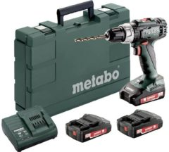Metabo BS 18 L Set Accuschroefboormachine 18 V 2 Ah Li-ion Incl. 3 accus, Incl. koffer