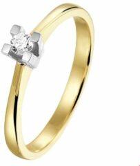 Zilveren Huiscollectie Bicolor Gouden Ring diamant 0.10ct H SI 17.00 mm (53)