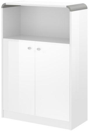 Afbeelding van Hubertus Meble Boekenkast Murano 118 cm hoog in hoogglans wit