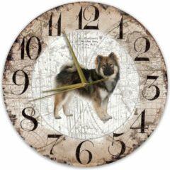 Bruine Creatief Art Houten Klok - 30cm - Hond - Eurasiër