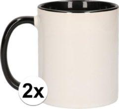 Shoppartners 2x Wit met zwarte blanco mokken - onbedrukte koffiemok
