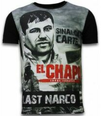 Zwarte T-shirt Korte Mouw Local Fanatic El Chapo Last Narco - Digital Rhinestone T-shirt