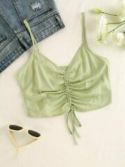Groene Newchic Drawstring Solid Color Strap Crop Top