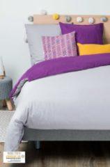 Grijze KADOLIS Dekbedovertrek Adult 260x240cm + 2 kussenslopen Bicolor / omkeerbaar purper 240x260cm