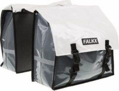 Falkx Bisonyl Dubbele Fietstas Wit / Grijs 40 L - Geschikt voor E-bikes