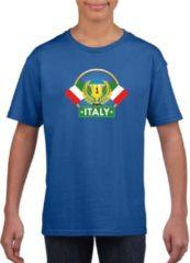 Blauwe Shoppartners Blauw Italiaans kampioen t-shirt kinderen - Italie supporter shirt jongens en meisjes M (134-140)