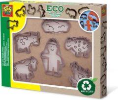 Bruine SES Creative Eco klei uitsteekvormen boerderij 6 stuks