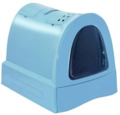Blauwe Imac kattenbak zuma met schuiflade blauw 40x56x42,5 cm