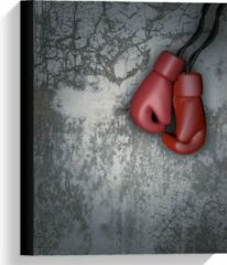 KuijsFotoprint Canvas - Rode Bokshandschoenen aan betonnen Muur - 30x40cm Foto op Canvas Schilderij (Wanddecoratie op Canvas)