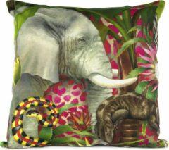 Rode African Jungle Olifant Kussenhoes - WhimsicalCollection - Katoen 45 x 45 cm met rits sluiting - Afrika - Jungle - Wilde dieren - Kleed jouw huis of tuin prachtig aan met deze kussenhoes. Gemaakt in Zuid Afrika - Kussen niet inbegrepen