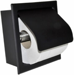 Mueller mat zwarte inbouw toiletrolhouder met klep RVS